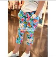 2014new girls big flower elastic waist casual trousers harem pants kids girls skinny leggings 5pcs/lot