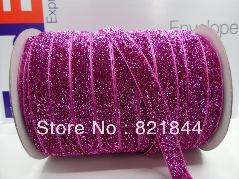 2013 Free Shipping 5/8'' 15mm Wide Single Side Glitter Rose Red Metallic Velvet Ribbon Glitter ribbon Great for headbands(China (Mainland))