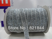 2013 Free Shipping 5/8'' 15mm Wide Single Side Shimmery Silver Metallic Velvet Ribbon Glitter ribbon Great for  headbands