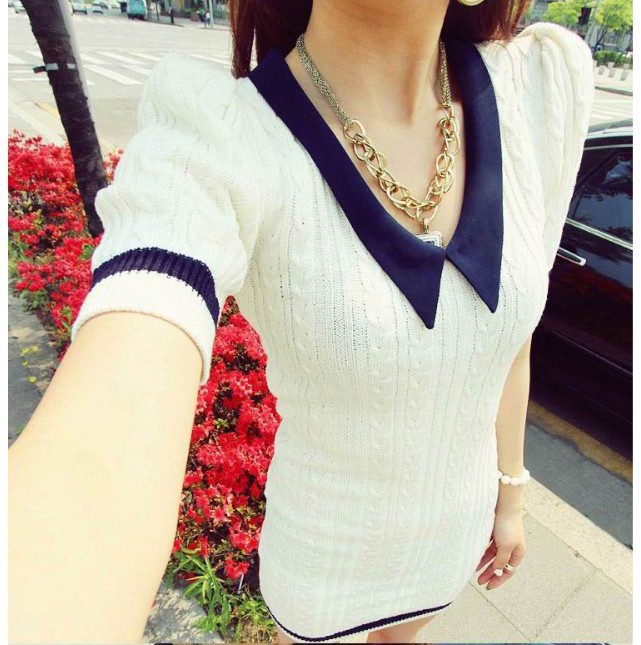 2012 Korean new winter sweet temperament Navy small wind lapel the cannabis chain link fence package hip sweater dress D640(China (Mainland))