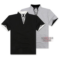 Plus size big men's  faux two piece stand collar short-sleeve v-neck T-shirt  2XL,3XL,4XL,5XL,6XL,7XL t1301  -Calenz