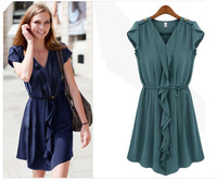 2014 European fashion brand design high quality channel chiffon dress for women elegant pleated woman top dresses with belt