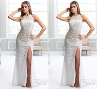 Fashion New Style 2013 High Neck Delicate Crystal Beaded White Chiffon Long Sleeves Prom Dresses