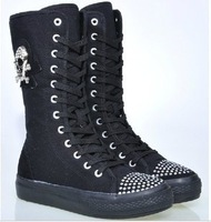 Fashion Gril's Canvas Boots,Knee High Canvas Sneakers shoes Tall boots high canvas shoes black 100% high quality shoes