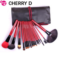 Free Shipping 2013 New Quality cosmetic brush set 18 natural animal wool brush set red Makeup tools and kit Soft wool