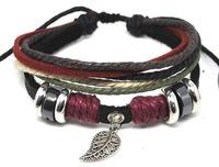 2013 New Fashion Multi layer Tribal Cuff Bracelets Hemp Rope Alloy Beads Leaf Charm Geniune Leather Womens Mens Bracelet B041