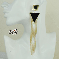 2013 the latest fashion balck triangle long tassels drop earrings for women party