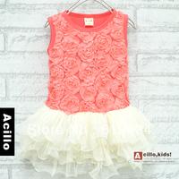 Free shipping Children's female rose sleeveless tank dress wholesale