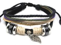 Handmade 2013 Fashion Multi layer Black Purple Cuff Hemp Rope Alloy Beads Leaf Charm Geniune Leather Womens Mens Bracelet B044