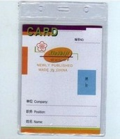 School Office transparent Vertical ID Card Badge Holder ID pass card case wholesale soft plastic