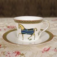 Promotion,European Stye  Horse Pattern China Bone Coffe Set Coming with free spoon