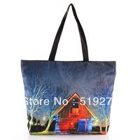 FREE SHIPPING Fashion Walker  HB011 House Printed  Women Handbag Computer LAPTOP Ipad Shoulder Bag Recycle