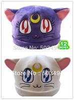 Sailor Moon Purple White  Cat Luna Plush Hat Costumes Cosplay