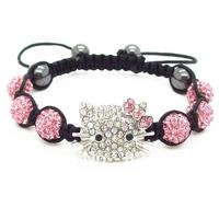 Wholesale 2013 fashion jewelry Hello Kitty KT Shamballa Bracelets Bangles Crystal Shamballa Clay Bracelet Free shipping