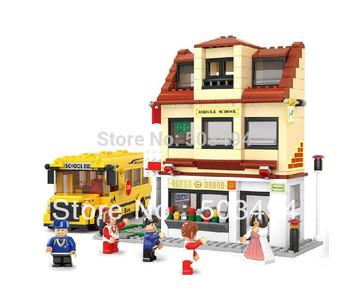 newest Building blocks set school bus educational plastic toy with assembles particles puzzle game