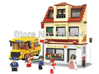 Building blocks set school bus educational plastic toy with assembles particles puzzle game