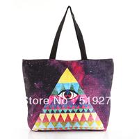 FREE SHIPPING Fashion Walker  HB016 Galaxy Triangle Eye Printed Women Handbag Computer LAPTOP Ipad Shoulder Bag Recycle