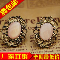 Fashion vintage cutout 72057 laciness inlaying gem stud earring female