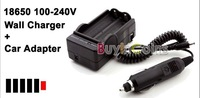 1Pcs/lot 18650 100-240V Battery Wall Charger + Car Adapter