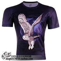 Plus size S-5XL 3D night owl print short sleeve o-neck cheap novelty T-shirt men's clothing  TCQ165