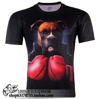Plus size S-5XL 3D dog boxing printed cartoon short sleeve novelty T-shirt men's clothing  TCQ225