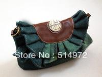Best Selling!!2013 new fashion women denim bags ladies flounced jeans handbag cowboy shoulder bag Free Shipping