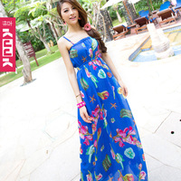 2013 summer beach dress bohemia chiffon full dress suspender skirt one-piece dress