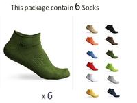 6 Socks 1 Package ! Men WoMen Unisex Low Cut Ankle Cotton Sport Socks 12 color W-04 Wholesale and Retail !