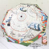 Free shipping New Automatic umbrella Graffiti nautical charts Carbon fiber bone Fashion Umbrella