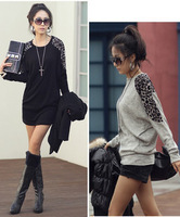 wholesale 2013 women's leopard print patchwork elegant thermal long-sleeve t 936  Free Shipping