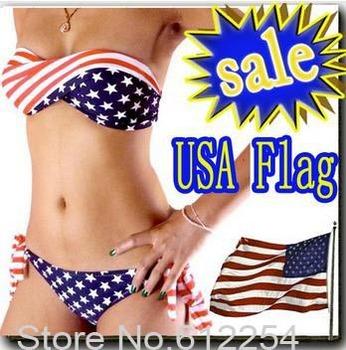 ON SALE swimsuit swimwear S M L Women Sexy bikini STARS STRIPES USA Flag PADDED TWISTED BANDEAU swim suit tube swim  A01201