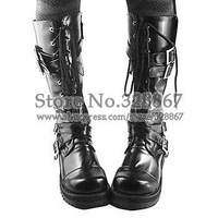 Handmade Black PU Leather 4cm High Heel Gothic Lolita Boots