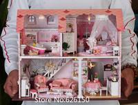 Diy Handmade Assembling Model BuildingPink dollhouse for kids toy house gift