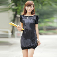 Summer fashion mm plus size clothing loose medium-long short-sleeve T-shirt female