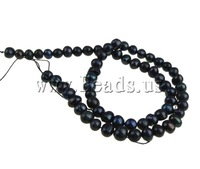 Free Shipping 5-6mm Hole:Approx 0.8mm Length:14.5Inch 61PC/Strand natural black Potato Cultured Freshwater Pearl Beads DIY New