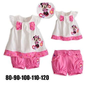 2013 Fashion Style Beautiful Girls Outerwear Kids Cotton Bow T-shirt + Pink Shorts Set Children Clothes Cartoon Minnie Suit QIN