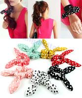 Free Shipping 7Pcs/Lot Polka Dot Rabbit Ear Bow Hair Tie Band Headband Ponytail Holder Scarf Bracelet