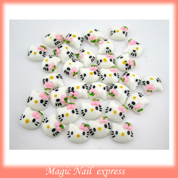 100pcs/lot-10*9MM 3d nail art hello kitty flat 3D nail art decorations nail decorations