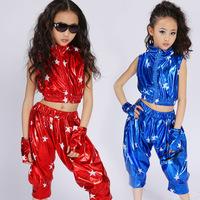 [10pcs/free ship] Child modern dance hip-hop costume set male female child jazz dance performance wear big boy rack drum