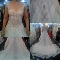 Dmr018 Dreamaker Vintage Shining Crystal Sewing Long Tail Lastest Bridal Wedding Gown