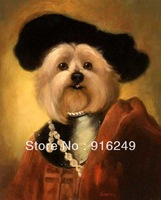 Funny Dogs Wearing a Black Hat, Top quality Hand-painted  Animal Oil Painting Dog Painting on Canvas