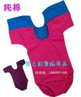 [10pcs/free ship] Cotton child dance clothes female child ballet dance leotard short-sleeve dance clothes christmas costumes