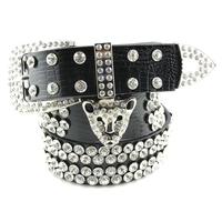 2013  strap fashion rhinestone all-match women's leopard head decoration wide belt cummerbund