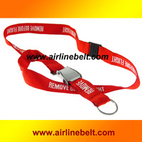 Airline airplane aircraft seat belt buckle keychain lanyard printed logo REMOVE BEFORE FLIGHT