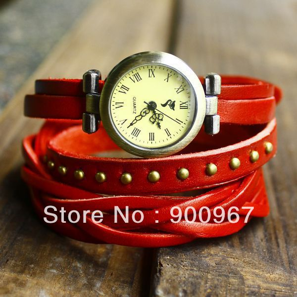 Steam punk half knit half hop nail cow leather vintage watch ALK-CL001(China (Mainland))