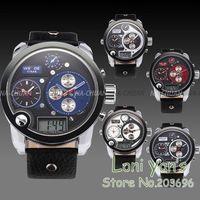 WEIDE  Fashion Oversize 3 Time Zone Quartz watch Mens Bule dial Spotr wrist watch Free ship Chrisrtmas Gift