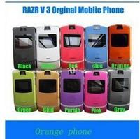 Wholesale Razr&V3 Unlocked Original Mobile Phones 10 Colors Poland Russian language and Russian keyboard &English keyboard