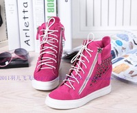2013 new arrive women fashion pink sneakers rivets lace-up zip for women