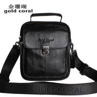 Gold coral new arrival cowhide waist pack male shoulder bag genuine leather handbag man bag small messenger bag