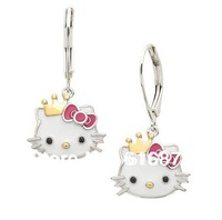 Free Shipping new arrival popular pink 15golden crown hello kitty cheap jewelry earrings for popular style HT-7997